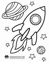 Coloring Space Rocket Printable Ship Outer Pages Cat sketch template