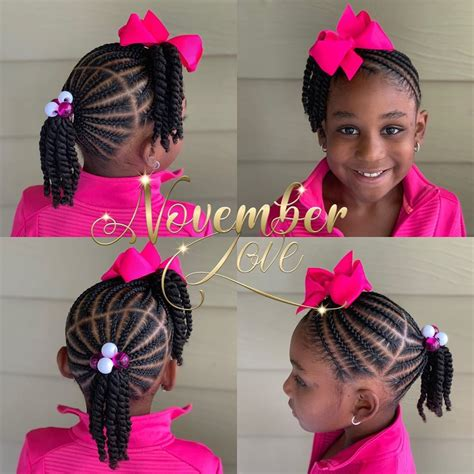 Image may contain: one or more people Little girl braid