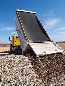 Truck Dumping Gravel stock image. Image of work, driveway ...