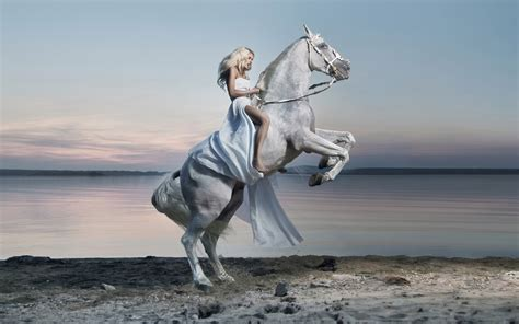 blue girl   white horse lake hd desktop wallpaper