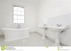Classy Family Bathroom With Free Standing Bathtub Stock