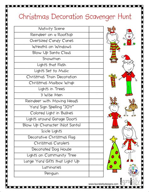 family holiday lights and decoration scavenger hunt