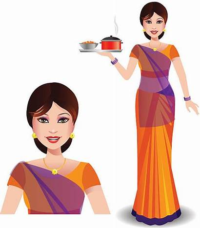 Saree Indian Clipart Woman Serving Vector Clip