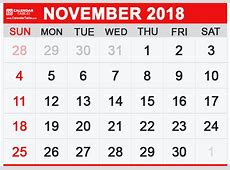 Printable November 2018 Calendar Calendar Table