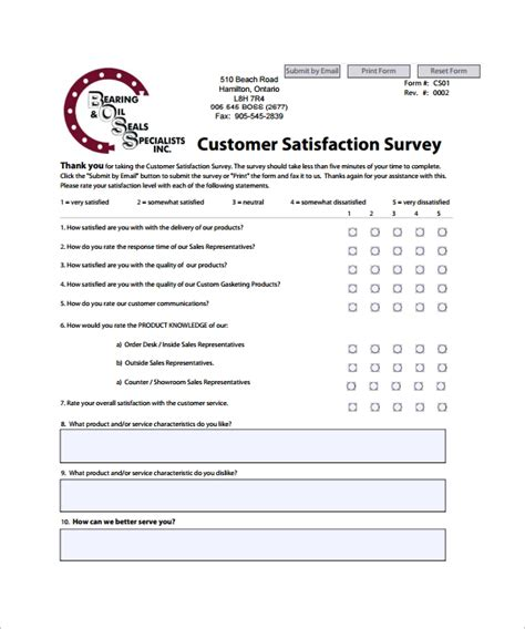 sample customer satisfaction survey template