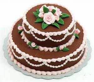 Minature Double Layer Chocolate Cake w/pink roses