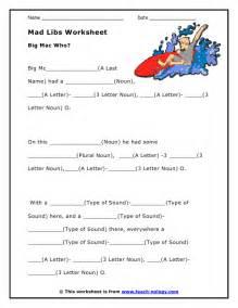 Free Printable Mad Libs Worksheets