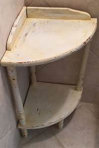 Small corner table 2 tier corner shelf shabby but by for Small corner table for bathroom