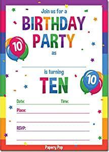 Amazon com: 10th Birthday Party Invitations with Envelopes