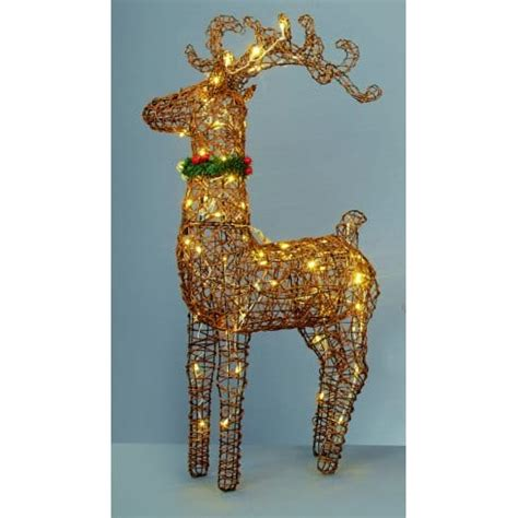 premier decorations warm white led large standing reindeer