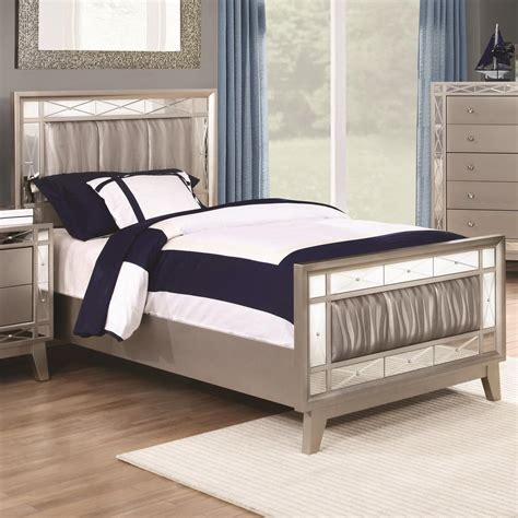 27010 coaster furniture beds coaster leighton bed with mirrored panel accents