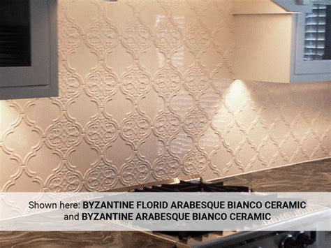 byzantine florid arabesque bianco ceramic wall tile     kitchen ceramic wall