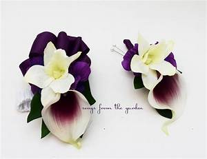 Real Touch Picasso Calla Lily White Orchid Boutonniere Corsage