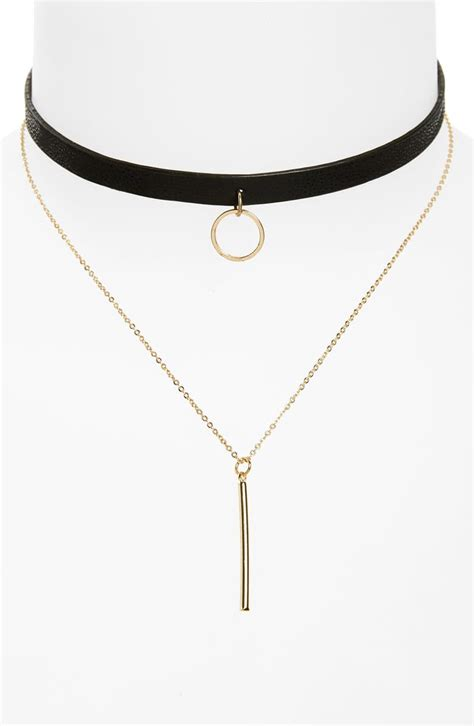 loren olivia faux leather choker double strand bar necklace nordstrom