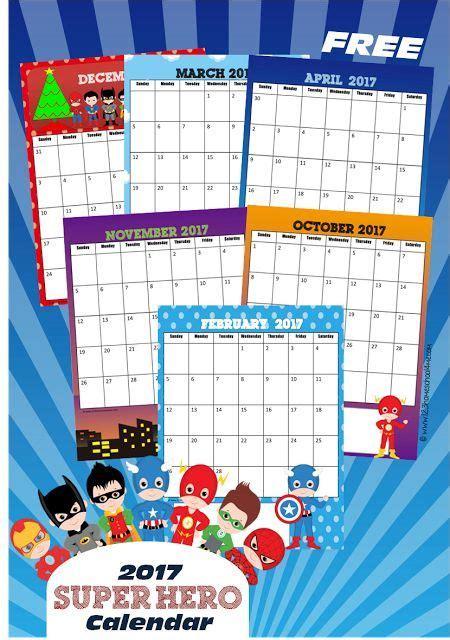 super hero calendar cute printable calendar