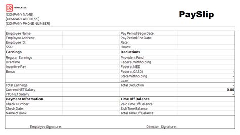 payslip template employee payslip template  excel