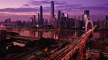 4k Guangzhou China Wallpapers Bridge Skyscrapers Buildings
