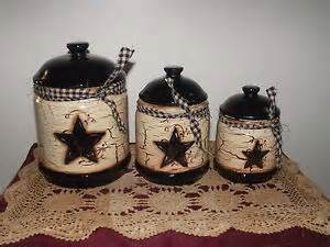 primitive americana farm style decor canister set 3 black