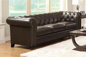 roy collection 504551 sofa loveseat set brown leather With roy button tufted sectional sofa with armless chair