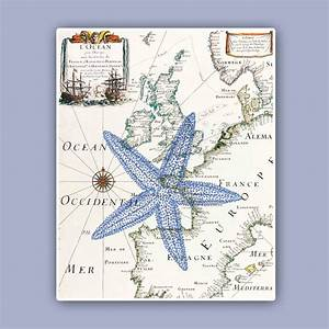 nautical starfish print on antique map sea star marine by With nautical wall decor