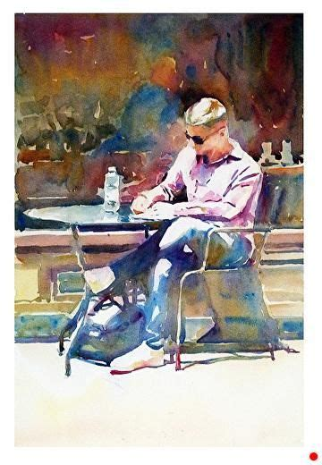 """This set of high quality hand painted watercolor elements. Coffee shop by Graham Berry Watercolor ~ 18"""" x 12""""   Figure painting, Watercolor art, Figurative art"""