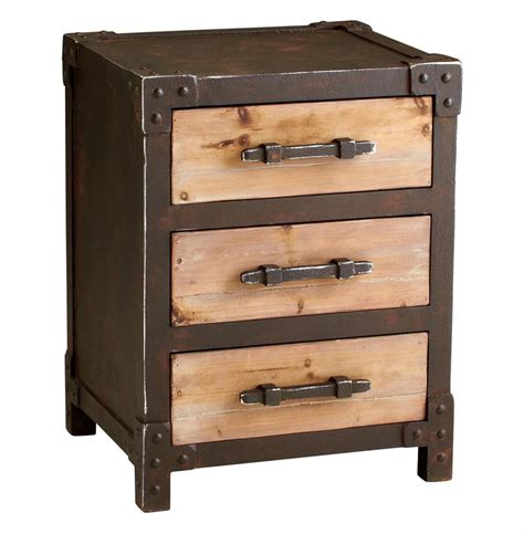 table and storage chester industrial rustic raw steel wood storage end table