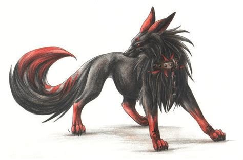 Black And Red Wolf Demon By Mindacrystal On Deviantart