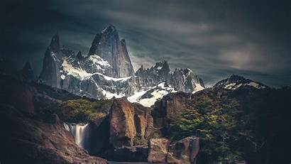 4k Snow Mountains Wallpapers Covered Waterfall Dark