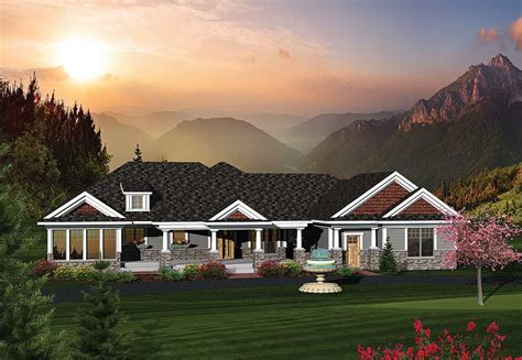 bedroom rambling ranch home plan ah architectural designs house plans