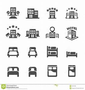 Hotel Building And Bedroom Icon Set Vector Eps10 Stock
