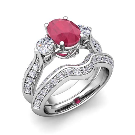 vintage and ruby three ring bridal platinum 9x7mm