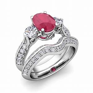 vintage diamond and ruby three stone ring bridal set With diamond and ruby wedding ring sets