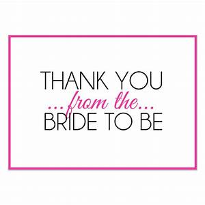 bridal shower thank you pink invitations cards on With wedding shower thank you template