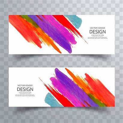 Banners Colorful Watercolor Stroke Vector Banner Template