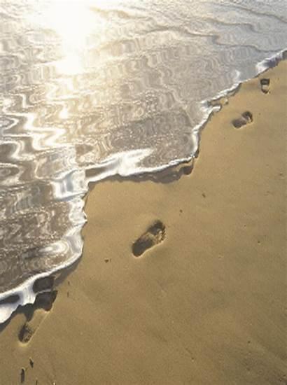 Beach Animated Sand Gifs Foot Water Footprint