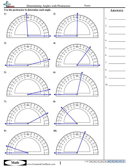 Determining Angles With Protractors Worksheet  Idea  Angles Worksheet, Protractor, Math Worksheets