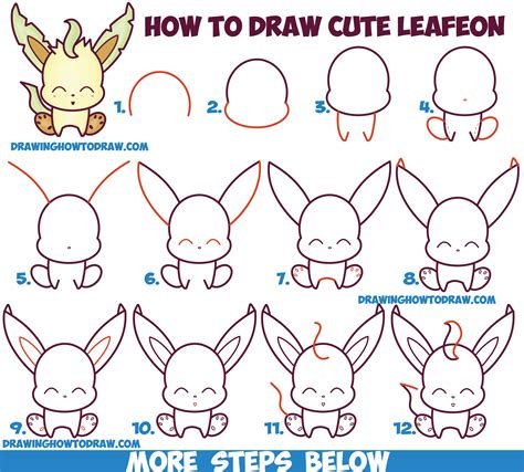 How To Draw Cute Kawaii Chibi Leafeon From Pokemon Easy