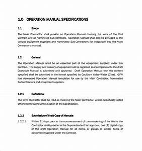 sample operations manual 8 documents in pdf word With operation and maintenance manual template