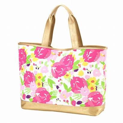 Tote Floral Bag Cabana Bags Monogram Monogrammed