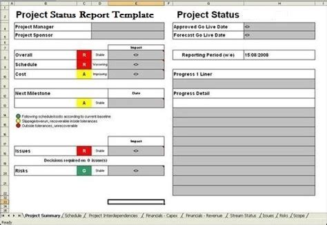 project status template project report template exceltemple