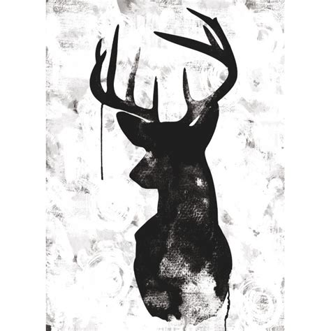 Oh Deer White/Black   Canvas Print   Various Sizes   The Block Shop