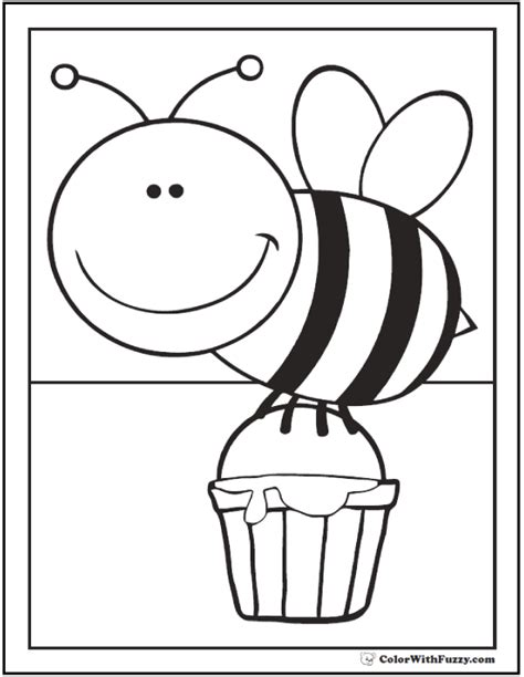 bee coloring page bee coloring pages hives flowers and honey