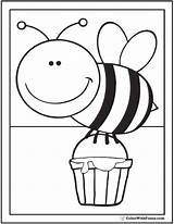 Bee Coloring Honey Flowers sketch template