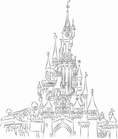 Castle Drawing Disney Disneyland Line Sketch Deviantart