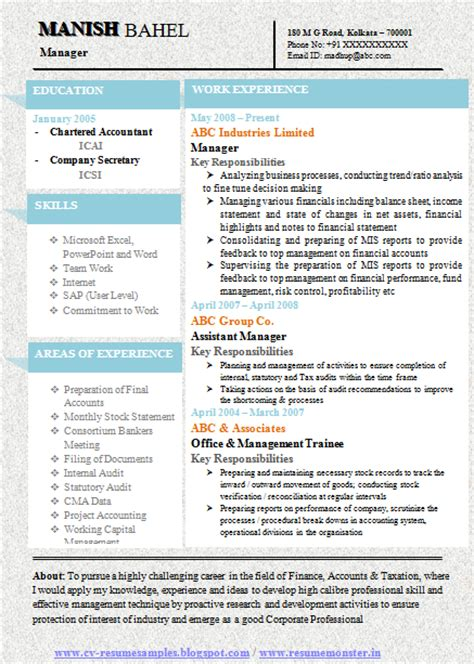Accounts Resume Format Doc by 10000 Cv And Resume Sles With Free Chartered Accountant Resume Sle