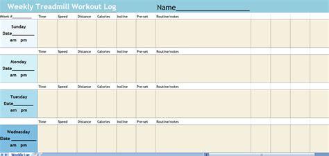 treadmill log spreadsheet treadmill workout log
