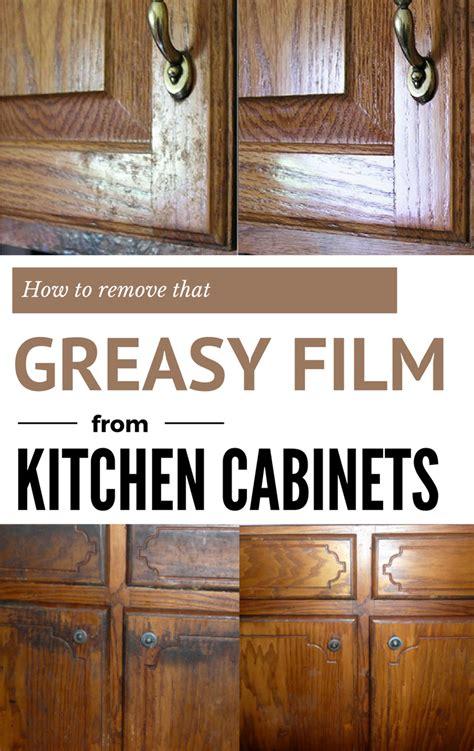 remove  greasy film  kitchen cabinets