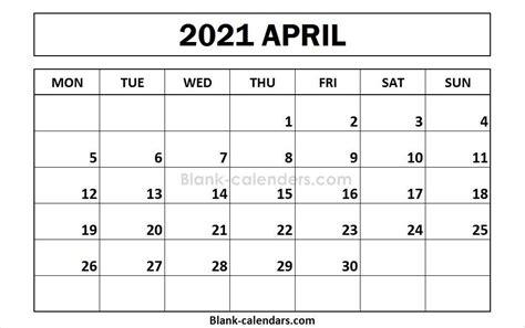 35+ Printable April Calendar 2021  Background