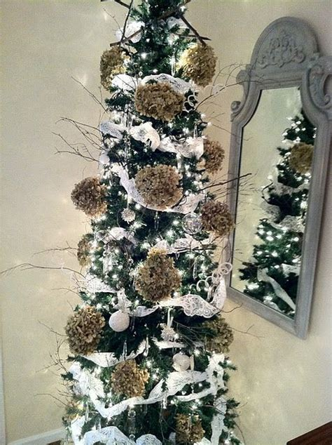 lace remnants  hydrangeas twigs   chandelier