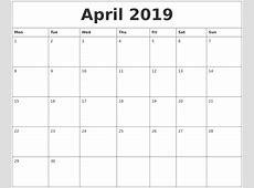 April 2019 Printable Calendar Pages